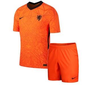 Camisa e Shorts Holanda I 2020 - Nike Infantil - Laranja