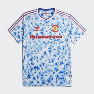 Camisa Manchester United X Human Race 20/21 - Torcedor Adidas Masculino - Azul Branco